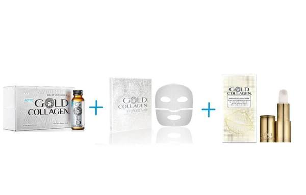 Комплект ACTIVE GOLD COLLAGEN + HYDROGEL MASK+ ANTI AGEING LIP VOLUMISER